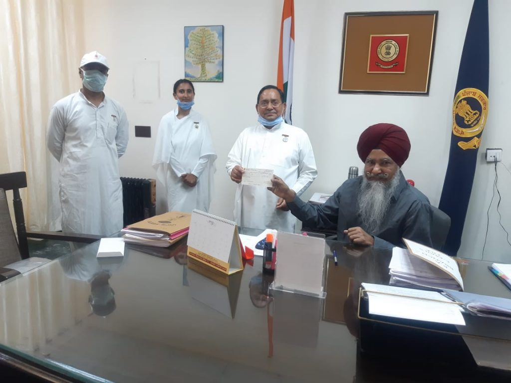 News: Pathankot(PB) - Donation of Rs. 1 Lakh to Indian Red Cross Society (COVID-19 Relief Fund) by Brahma Kumaris